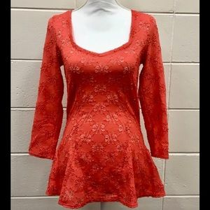 Free People boho festival coral lacy floral top